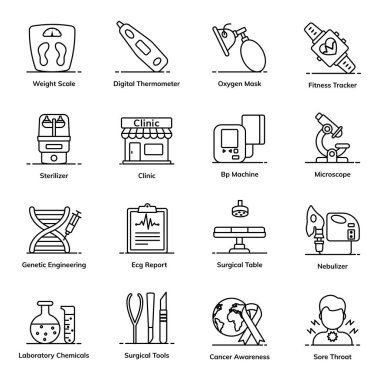 Emergency and Fitness Icons in Flat Style Pack icon