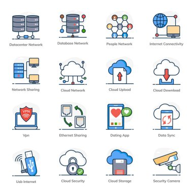 Pack of Data Networking Flat Icons icon