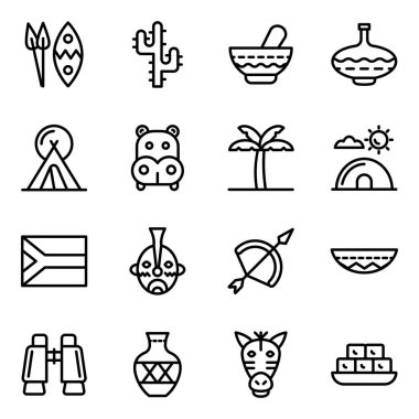 African Element Icons in Solid Style Pack icon