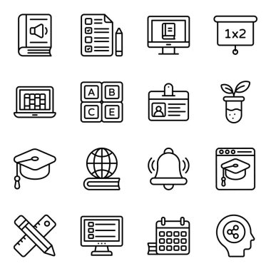 Pack of Education Icons in Flat Style icon