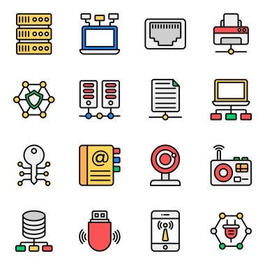 Pack of Network Technology Flat Icons icon