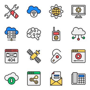 Pack of Networking Modern Flat Icons icon