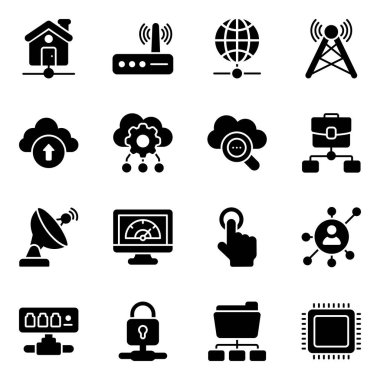 Pack of Networking Flat Icons icon