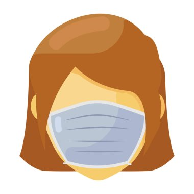 Person wearing mask showcasing flat vector of corona patient icon