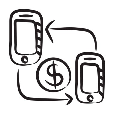 Mobile money transfer icon, smartphones with exchanging arrows and dollar icon