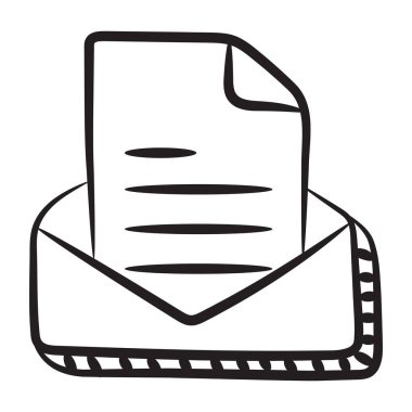 Hand drawn vector design of mail icon icon