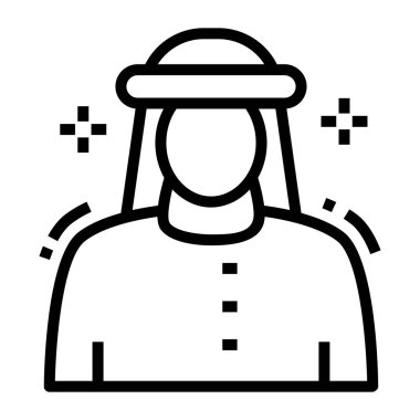 Line design of muslim man icon. icon