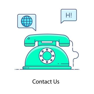 Telephone with writing chatbot depicting contact us icon flat style icon
