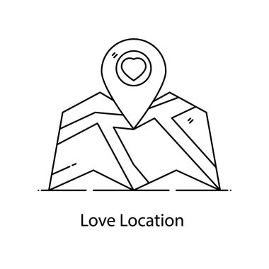 An icon of love location, heart inside location pin icon