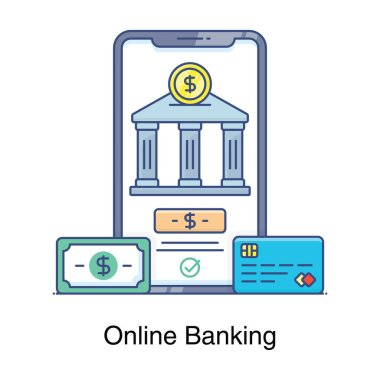 Flat style of online banking, bank building inside mobile phone icon
