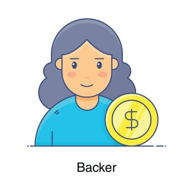 A professional avatar, backer icon in flat vector icon