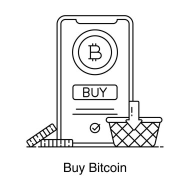Icon of bitcoin shopping or buy bitcoin in flat design icon