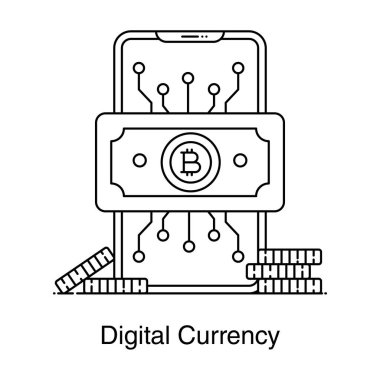 Bitcoin inside mobile phone, icon of digital currency icon