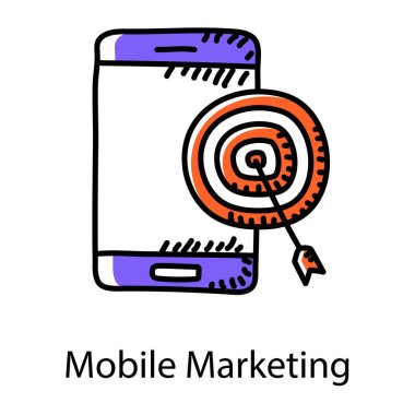 Target board with mobile phone, mobile marketing icon icon