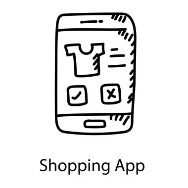 Mobile shopping app icon, shirt inside smartphone icon