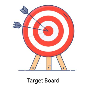 A flat icon of target board on tripod, business target icon