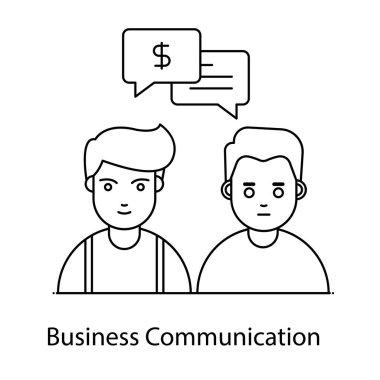 Business communication, vector of conversation in flat style icon