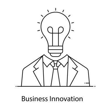 Business innovation icon, person with bulb icon