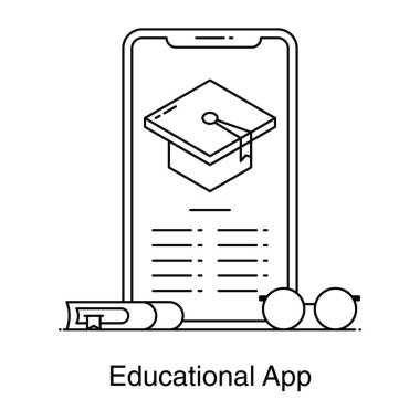 Mortarboard inside smartphone denoting educational app icon in flat vector icon