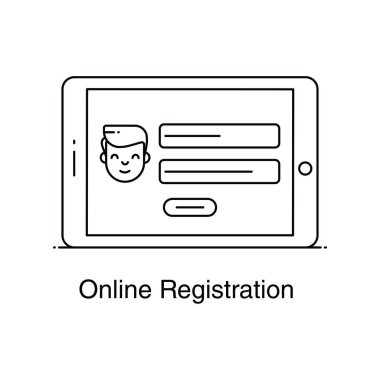 Online registration icon in flat design, trendy style of mobile application form icon