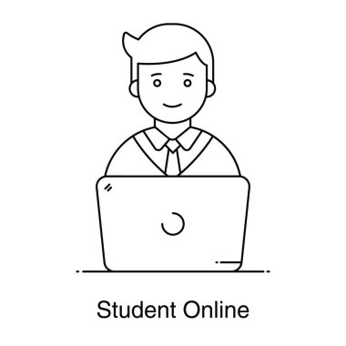 A trendy style of student online icon in editable vector icon