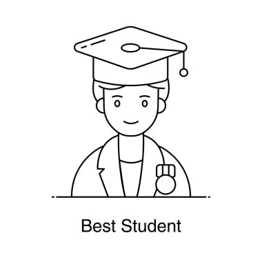 Avatar wearing mortarboard, icon of best student in flat style icon