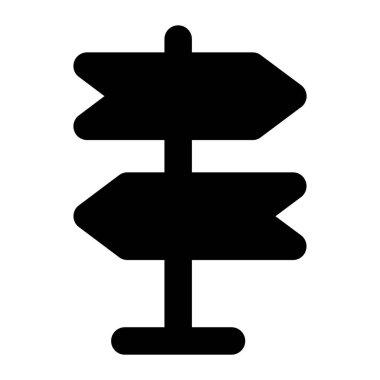 Roadside arrows, signpost concept in modern glyph style icon