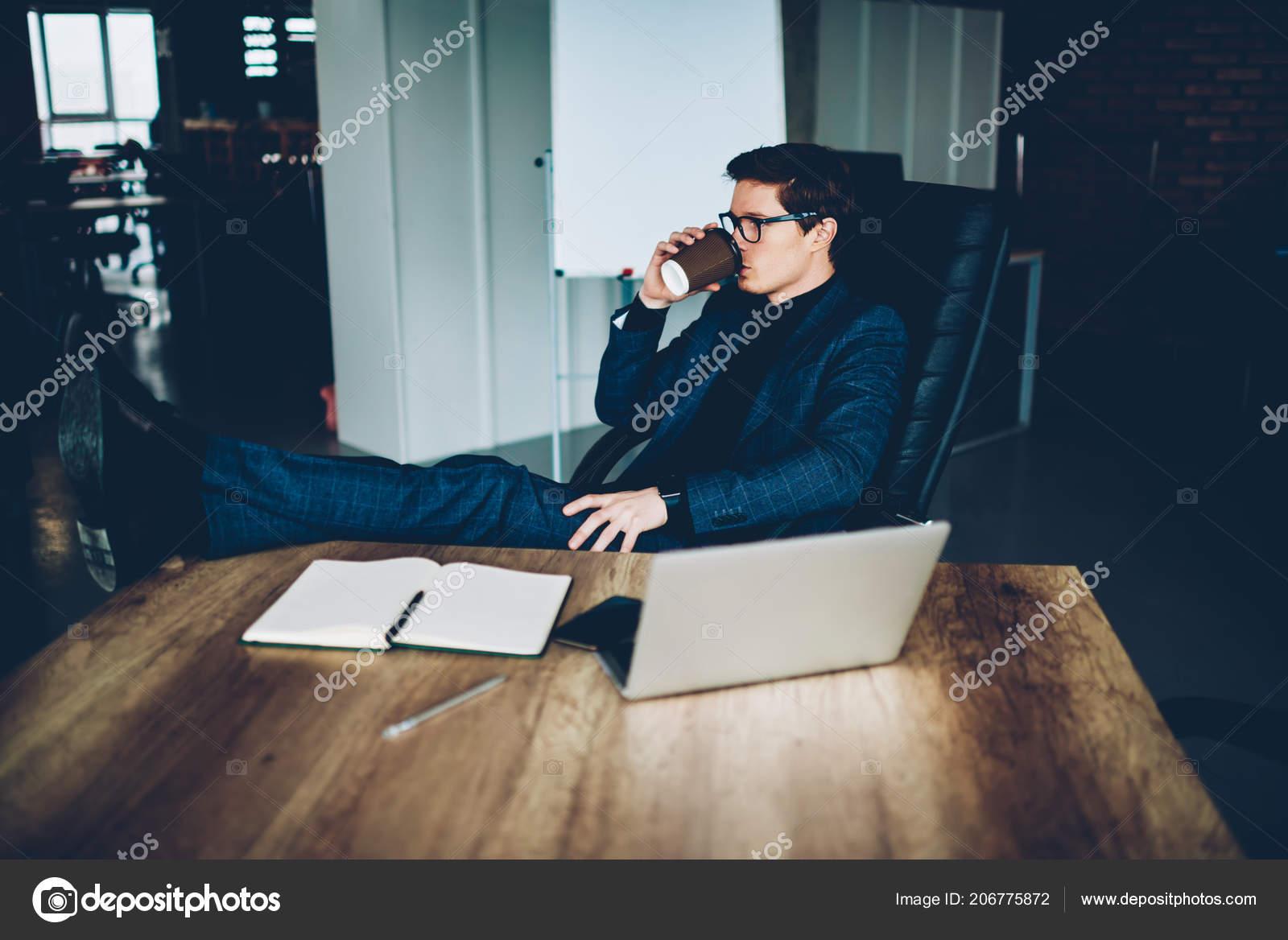 Fantastic Confident Businessman Elegant Suit Feeling Relaxed Break Theyellowbook Wood Chair Design Ideas Theyellowbookinfo