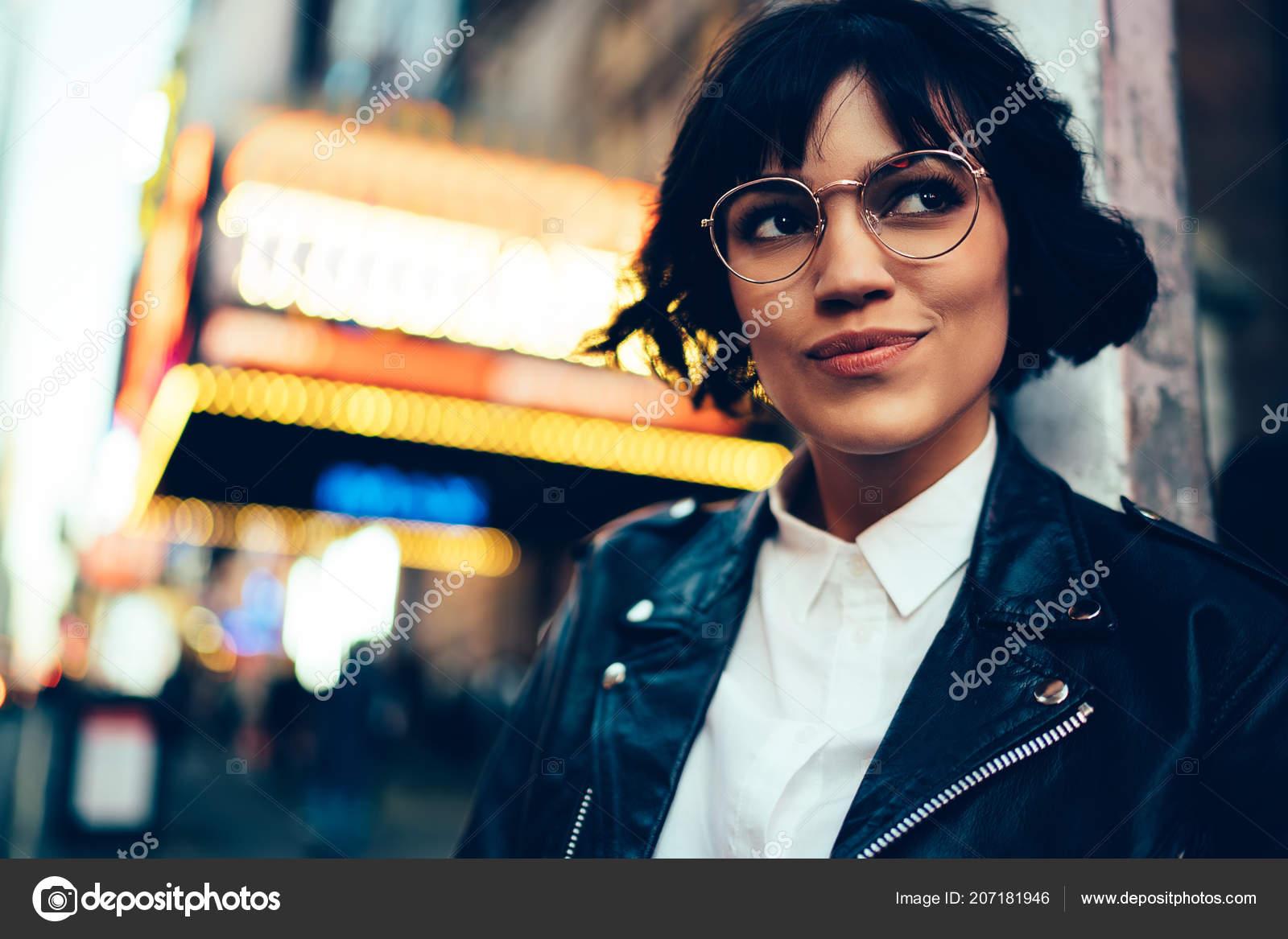Pretty Stylish Hipster Girl Short Haircut Looking Away Walking New