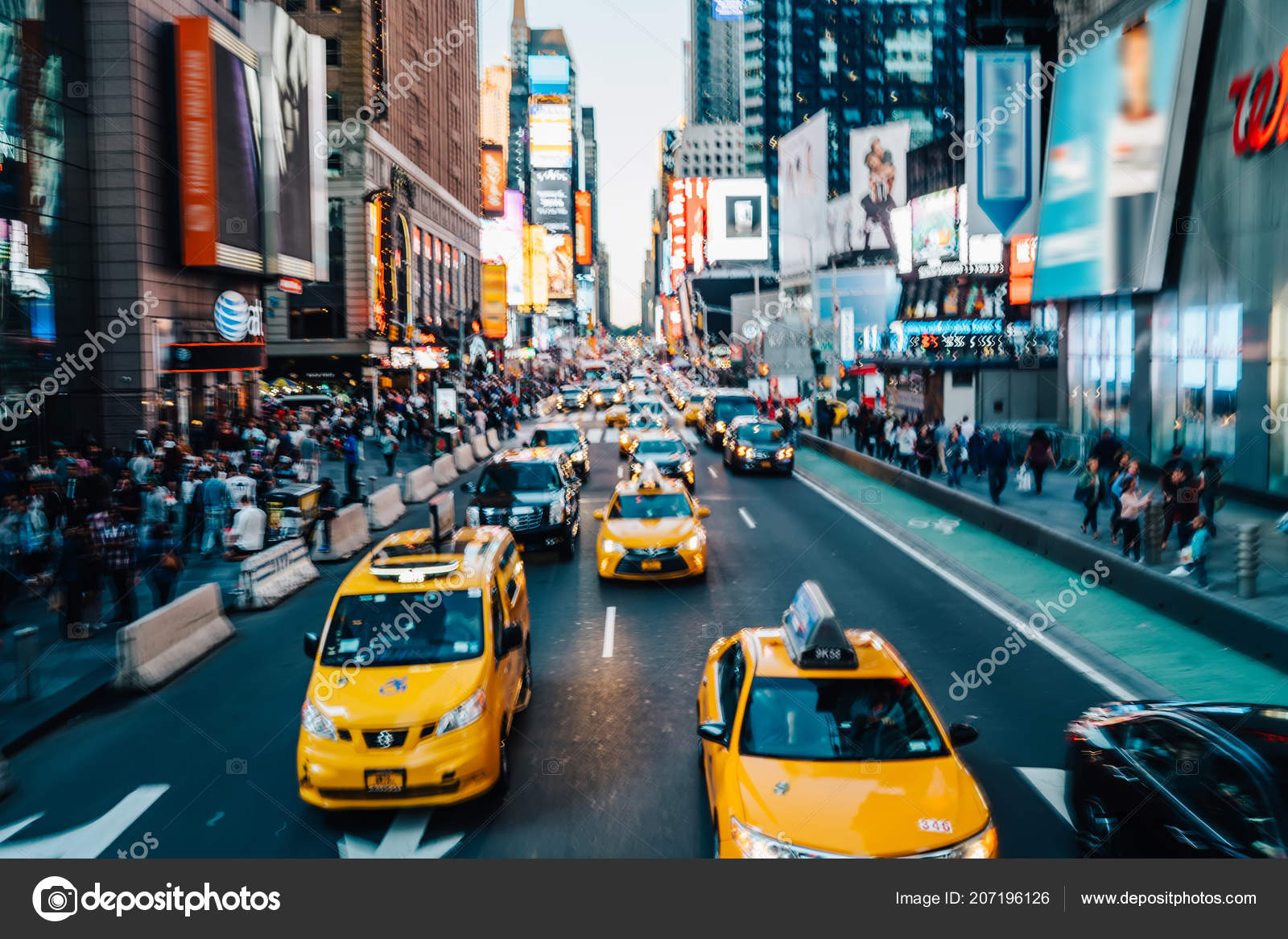 4908382535bf5 Motion Blur Effect Times Square Illuminated Buildings Advertise ...