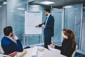 Fotografie Proud ceo dressed in suit drawing graphic of accounting reports on flip chart to discussing profit strategy during partnership meeting in office,Professional male coach conducting business workshop