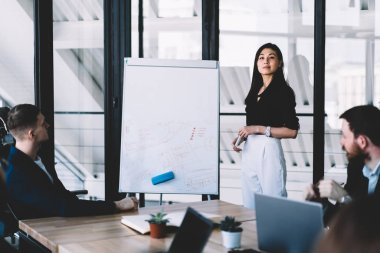 Portrait of confident professional female coach looking at camera while conducting business workshop for young and successful entrepreneurs in modern office standing near white flip chart