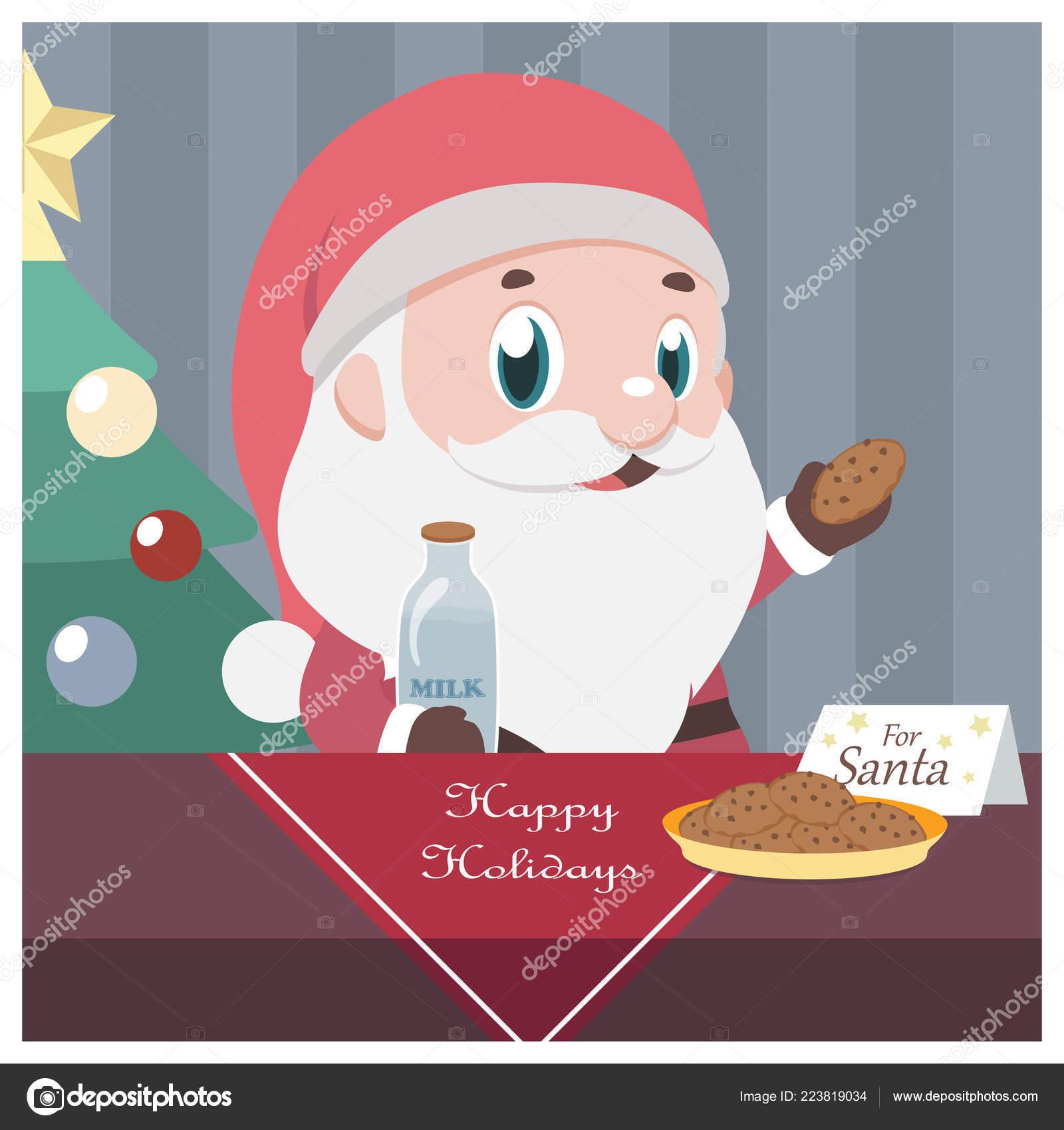 Christmas Scene Santa Taking Milk Cookies Stock Vector C Agnessz