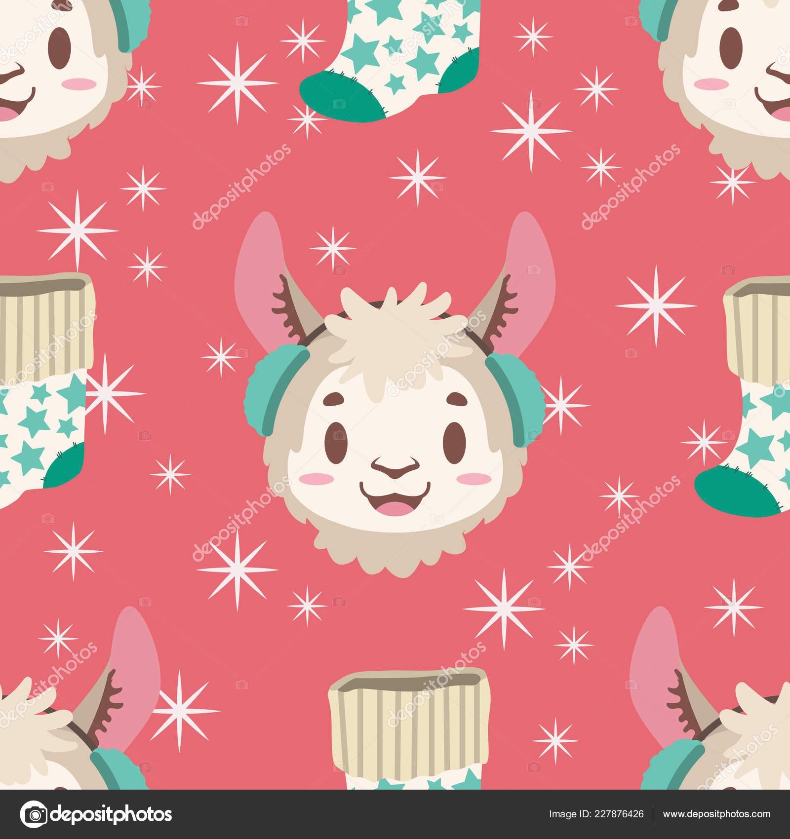 Llama Christmas Stocking.Seamless Pattern Llama Christmas Stocking Stock Vector