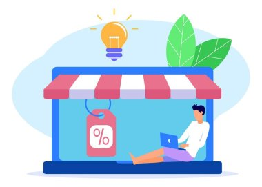 Vector illustration, flat style, opening a small online shop, discounts, purchasing of goods and gifts, investing in real estate, shopping concept. Starting a small business. icon