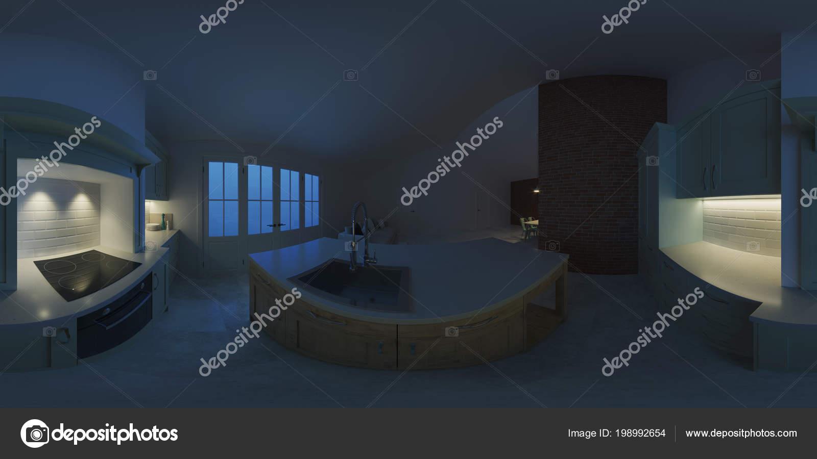 Interni moderni una casa campagna illuminazione sera panorama