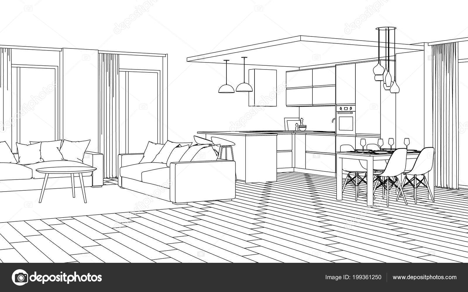 Modern house interior design project sketch rendering stock photo