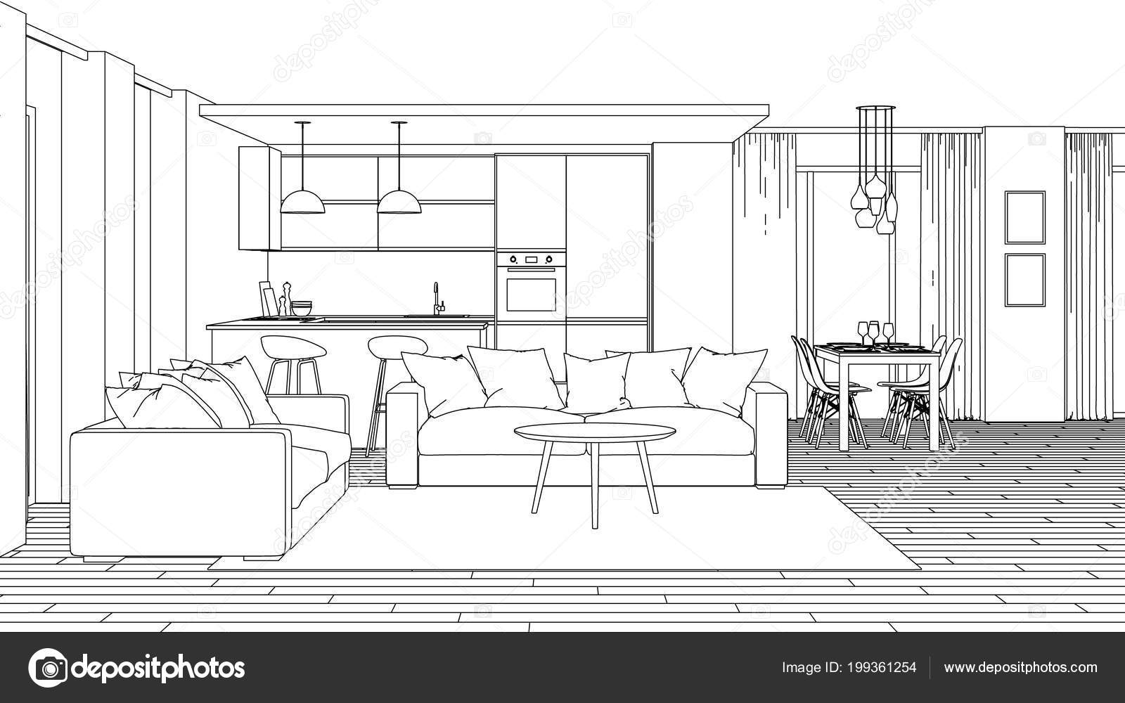 Modern House Interior Design Project Sketch Rendering
