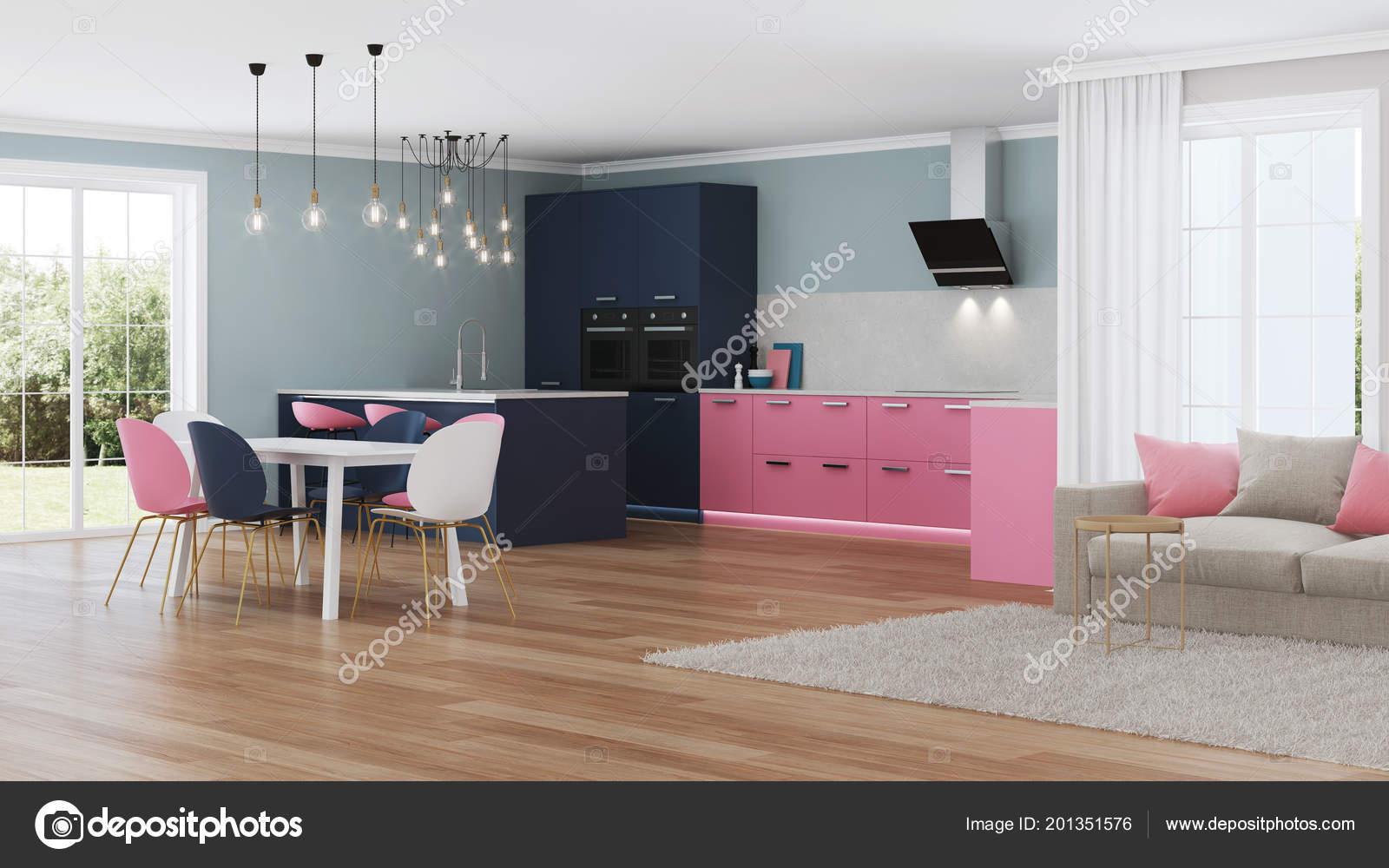 Intérieur Maison Moderne Cuisine Rose Rendu — Photographie ...