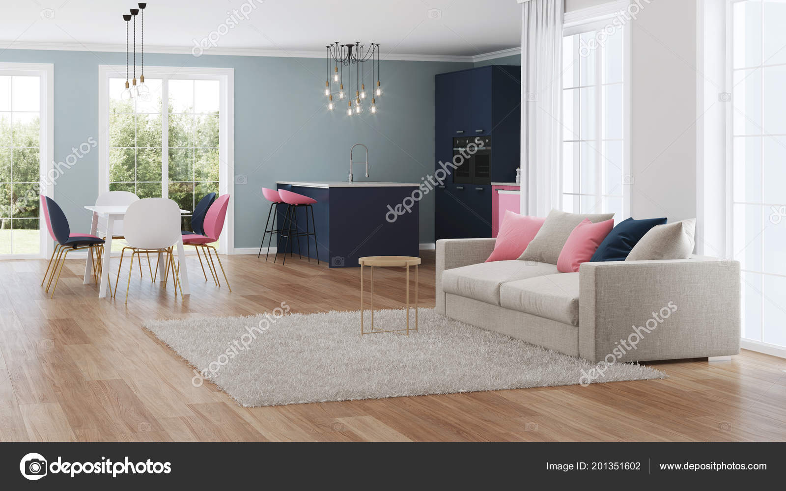 Modern huis interieur roze keuken rendering u stockfoto artemp