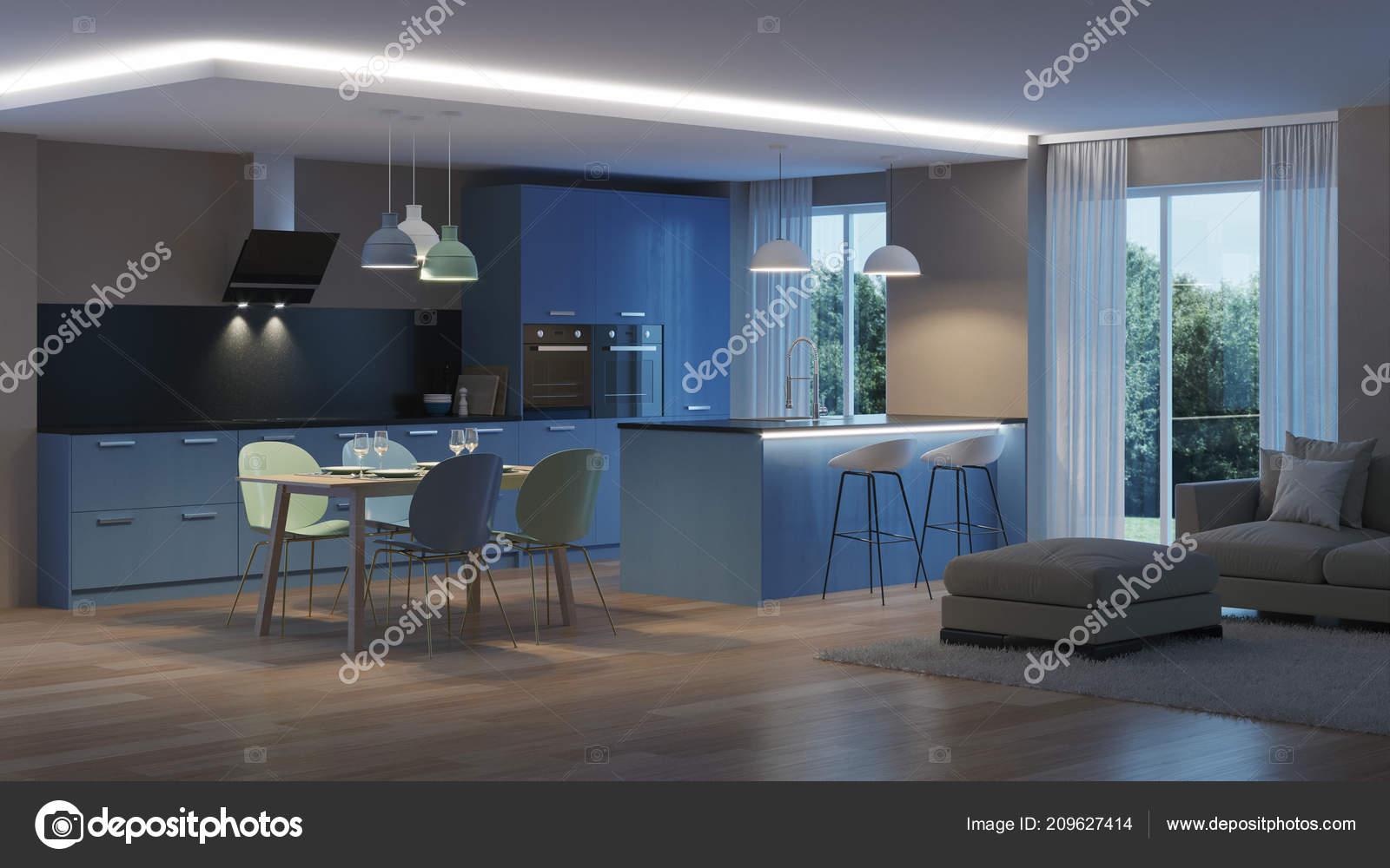 Intérieur Maison Moderne Cuisine Bleu Nuit Eclairage Soirée ...