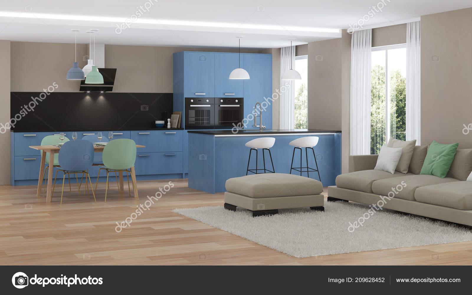Intérieur Maison Moderne Cuisine Bleu Rendu — Photographie ...