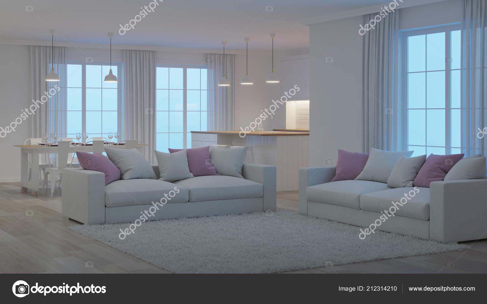 Interiore della casa moderna interno bianco notte illuminazione