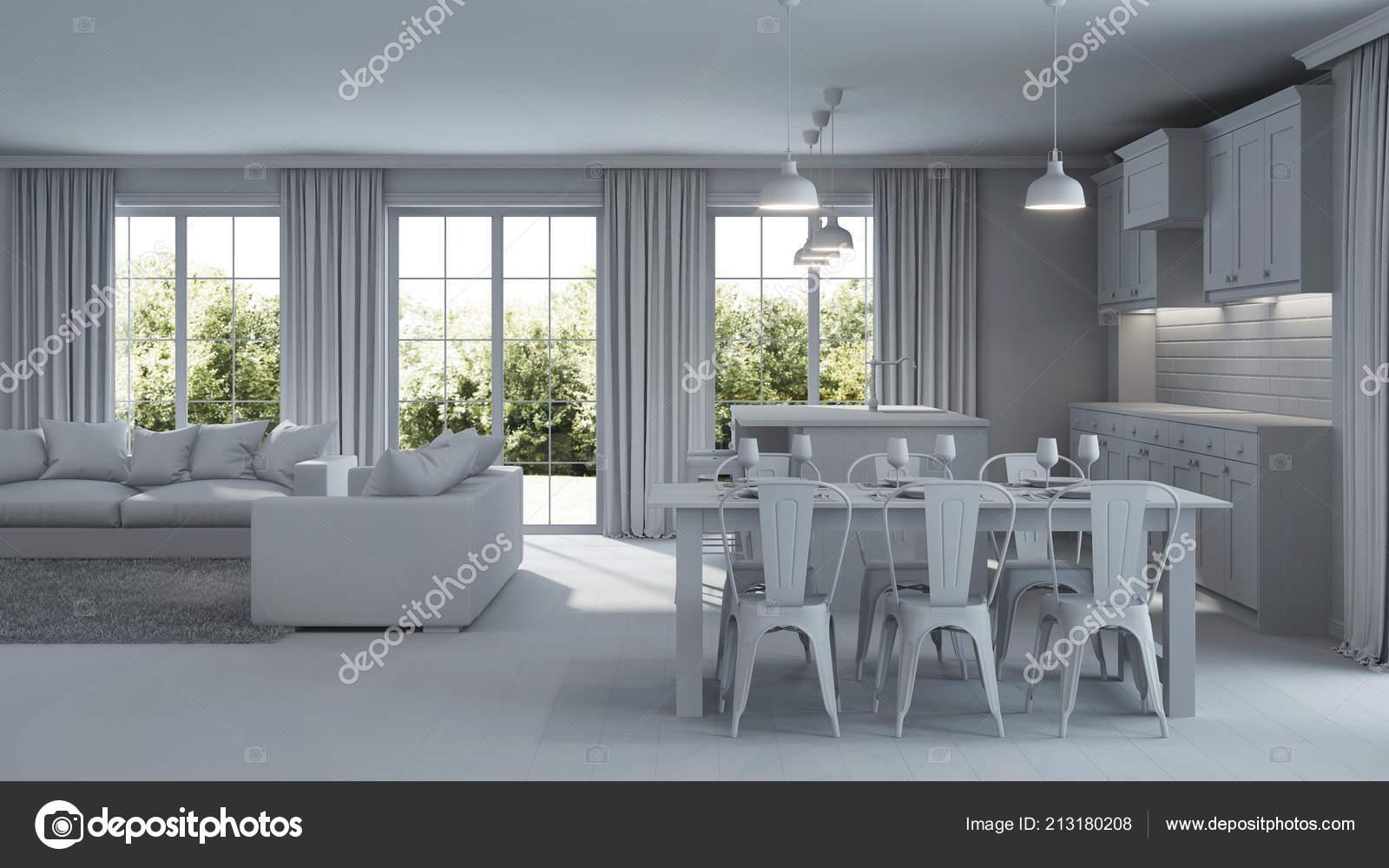 modern huis interieur reparaties grijze interieur rendering stockfoto