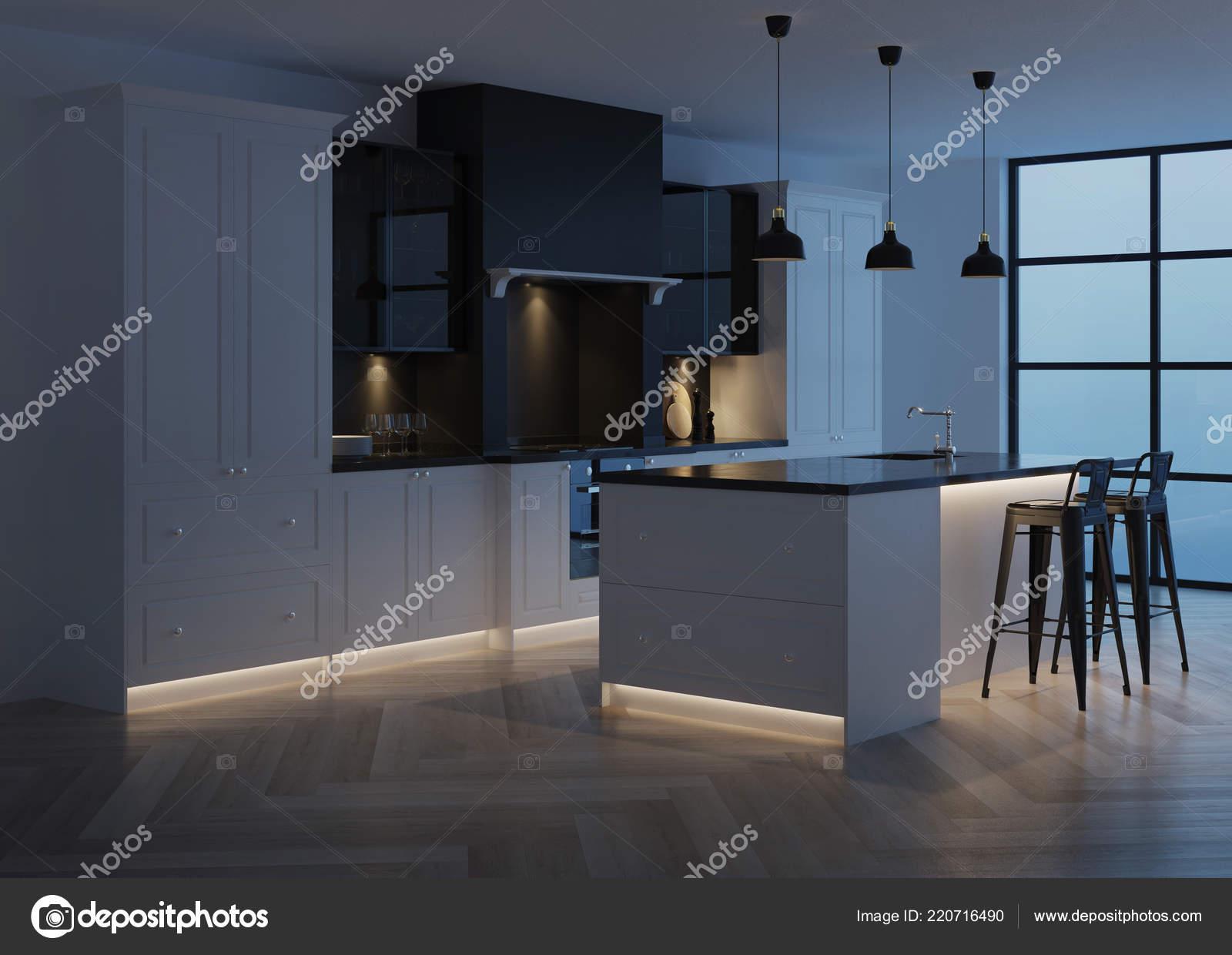 Idee cucina in marmo nero isola spettacolare illuminazione della