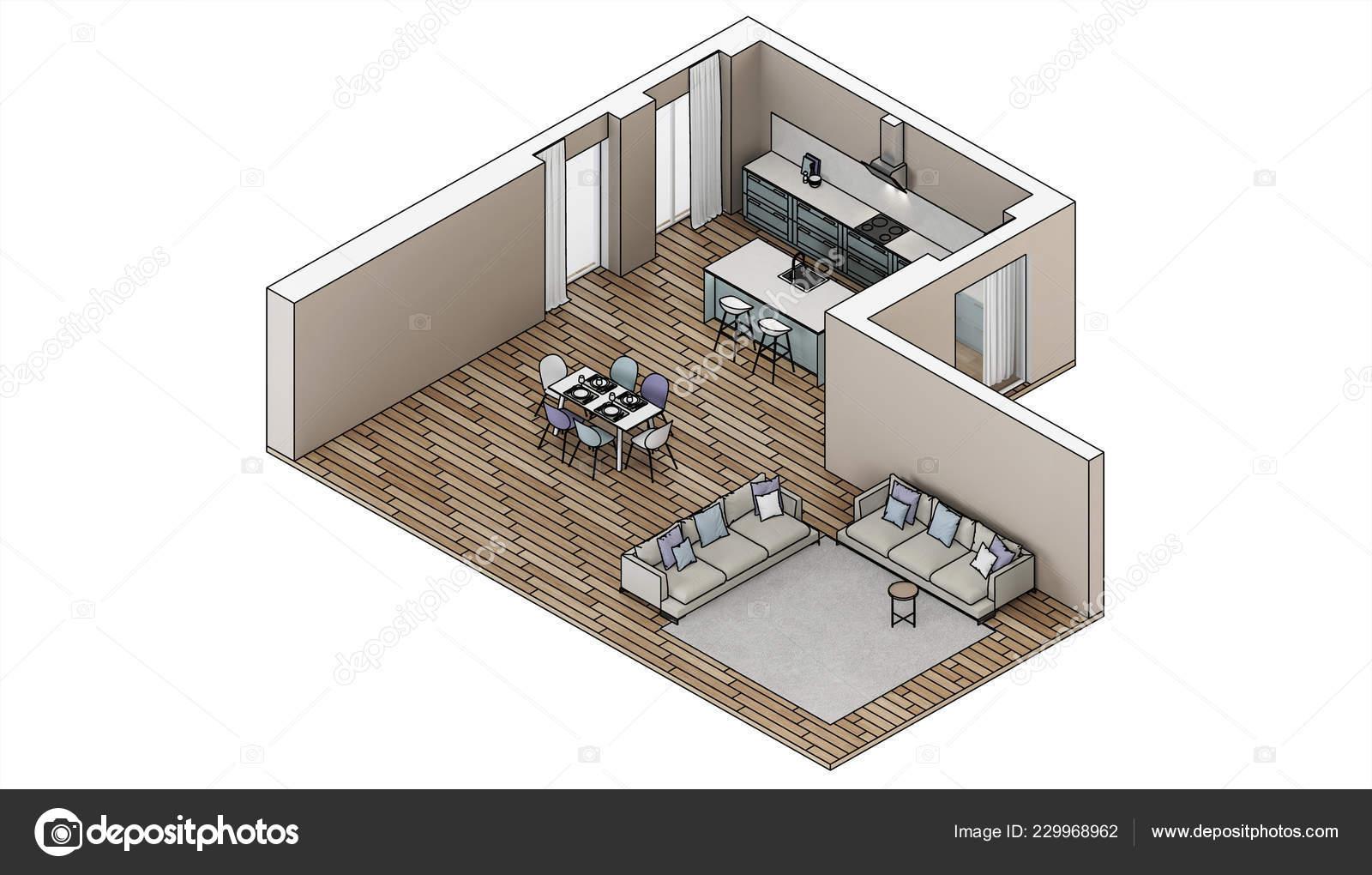 Progettazione Casa 3d : Interiore della casa moderna progetto design schizzo proiezione