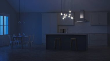 The interior of the kitchen in a private house. White kitchen with a blue island. Night. Evening lighting. 3D rendering.