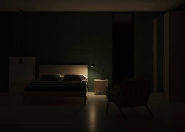 Modern bedroom interior. Emerald color in the interior. Night. Evening lighting. 3D rendering.