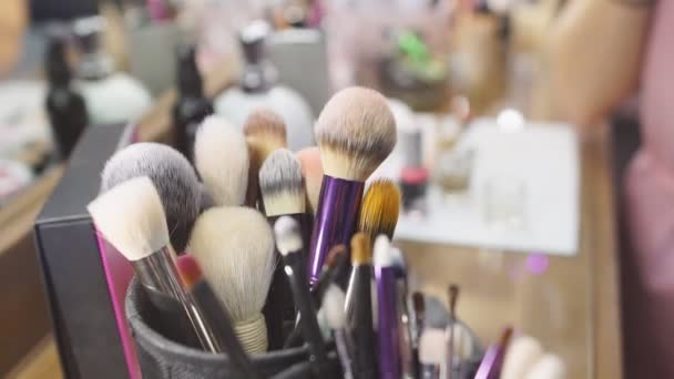 Makeup Artists Hand Taking Brush From Set Of Professional Tools.