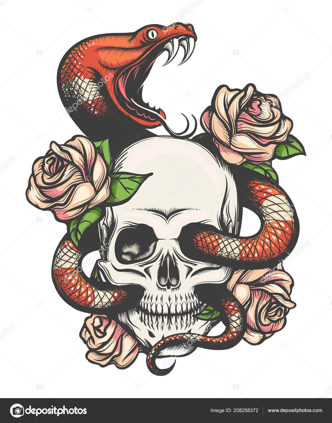 Colorido Diseño Tatuaje Con Calavera Rosas Serpiente Ilustración